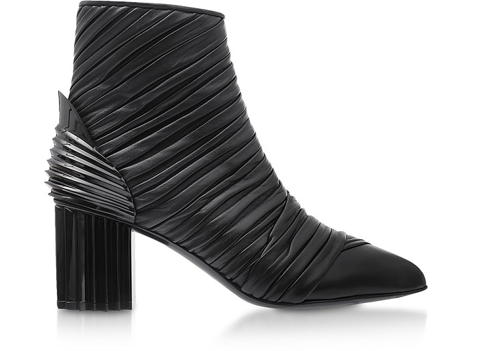Ilma Black Pleated Leather Heel Booties - Balmain