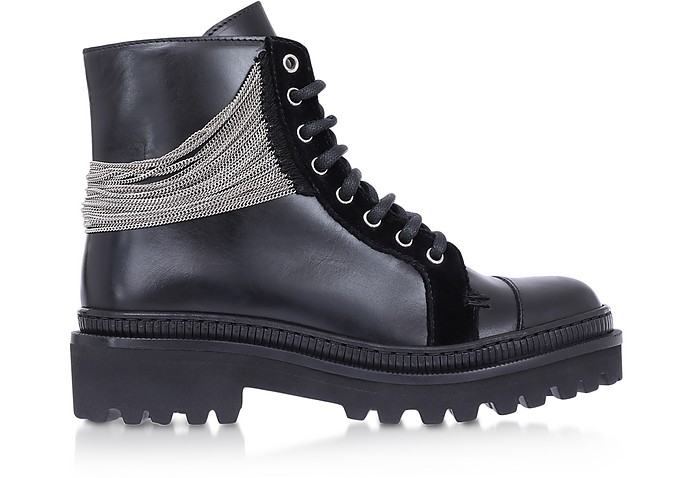 Black Leather & Chain Ranger Boots - Balmain / バルマン