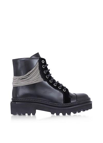 Black Leather & Chain Ranger Boots - Balmain