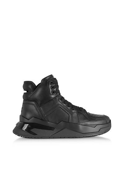 Black B-Ball Calfskin Leather Sneakers - Balmain