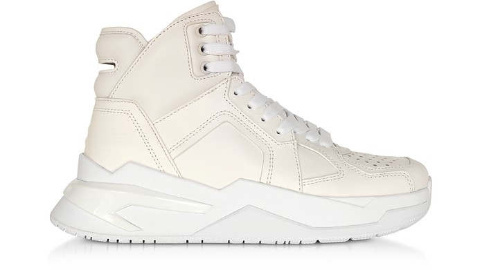 White B-Ball Calfskin Leather Sneakers - Balmain