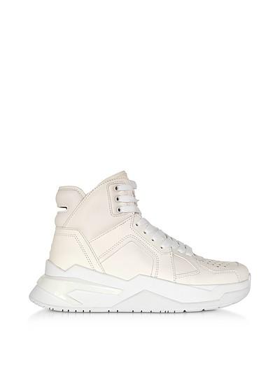 White B-Ball Calfskin Leather Sneakers - Balmain