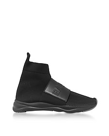 Black Nylon and Leather Cameron Running Men's Snekers - Balmain