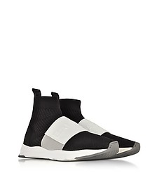 Black & White Nylon and Leather Cameron Running Men's Snekers - Balmain