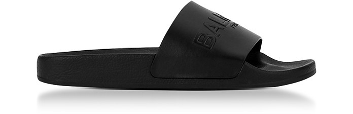 Black Leather Calypso Men's Slide Sandals - Balmain