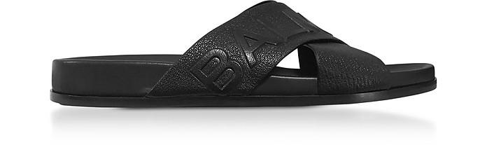 Black Leather Criss Cross Men's Slide Sandals - Balmain