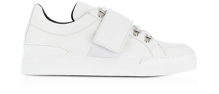 White Leather Low Top Men's Cobalt Sneakers - Balmain