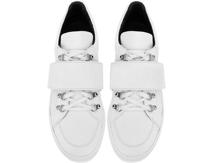 f207ab62117 White Leather Low Top Men's Cobalt Sneakers
