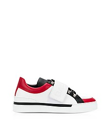 White & Black Leather Low Top Men's Cobalt Sneakers - Balmain