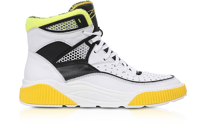 White and Yellow Kery-Leather High Top Sneakers - Balmain