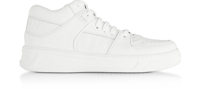 Optic White Kane Leather Low Top Sneakers - Balmain