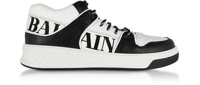Optic White and Black  Kane Leather Low Top Sneakers - Balmain