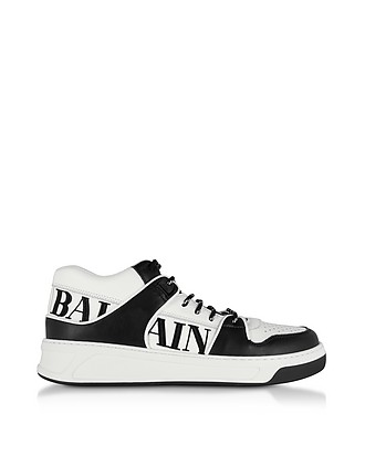 reputable site 63e60 06112 Optic White and Black Kane Leather Low Top Sneakers - Balmain