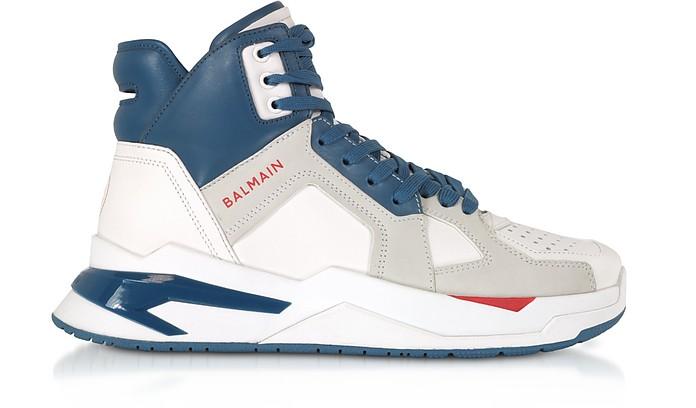 White & Blue High Top Men's B-Ball Sneakers - Balmain