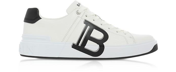 White & Black Low Top Men's B-Court Signature Sneakers - Balmain