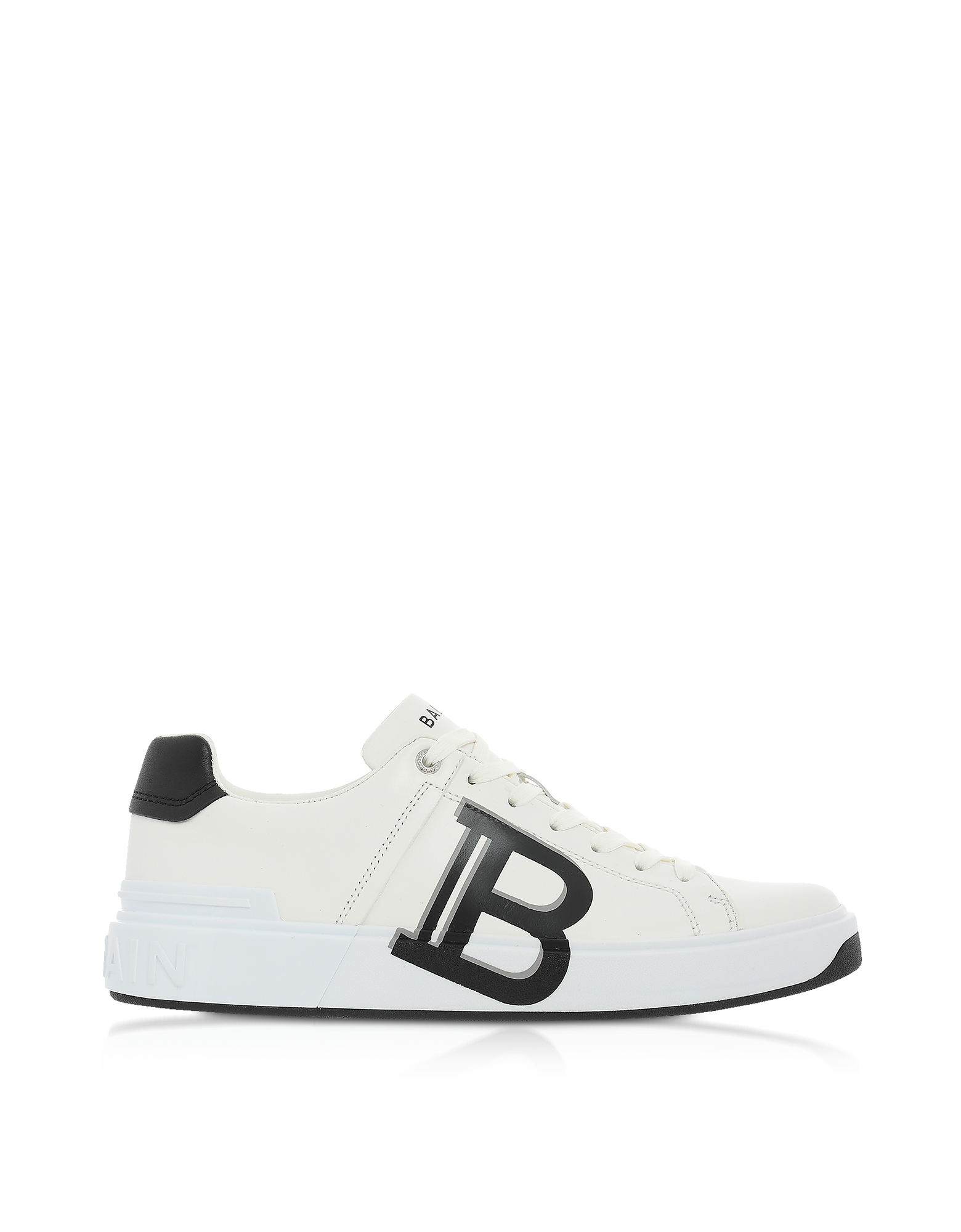 Balmain WHITE & BLACK LOW TOP MEN'S B-COURT SIGNATURE SNEAKERS