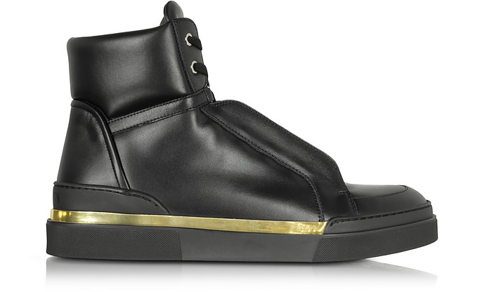Atlas Black Leather High Top Sneakers - Balmain