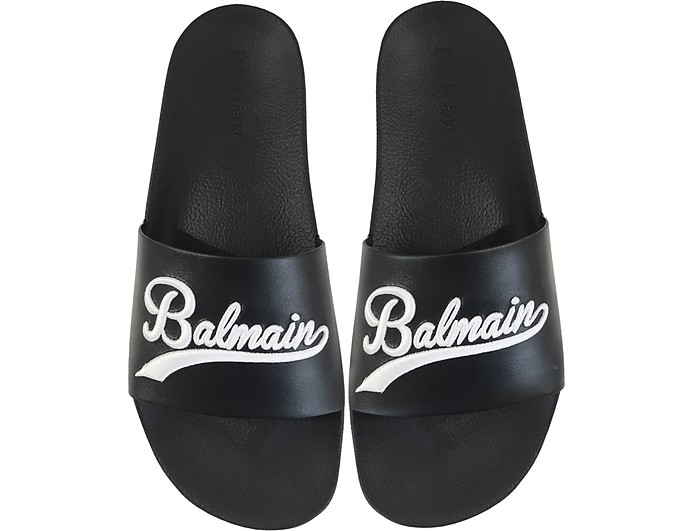 Black Leather Calypso Men's Slide Sandals - Balmain