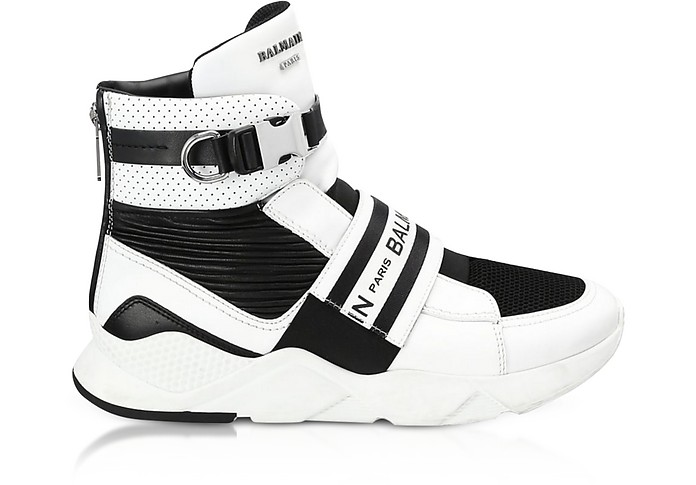Exton White Perforated Leather High Top Men's Sneakers - Balmain