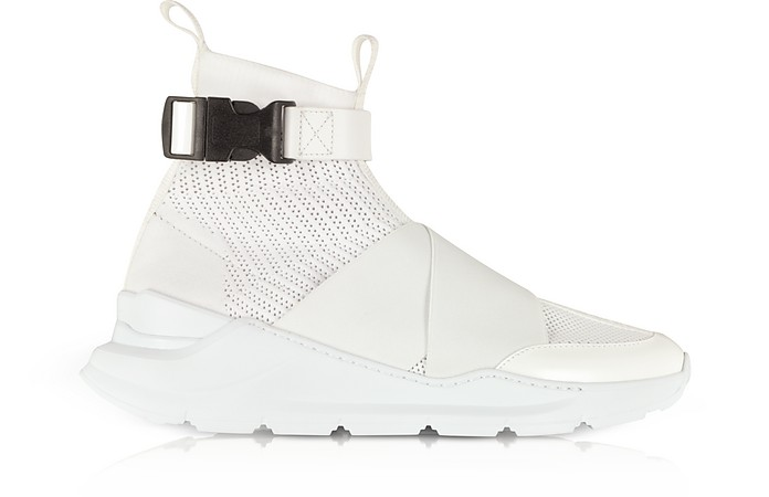 White Faust Fabric and Leather Suede Effect High Top Men's Sneakers - Balmain