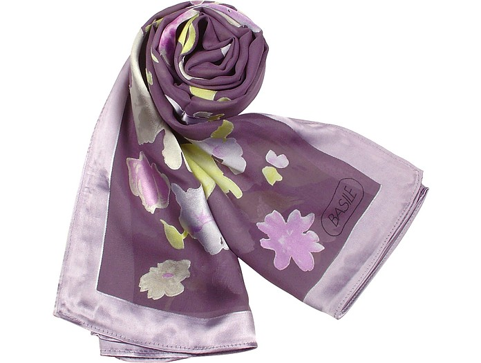 Floral Patterned Silk Long Scarf - Basile