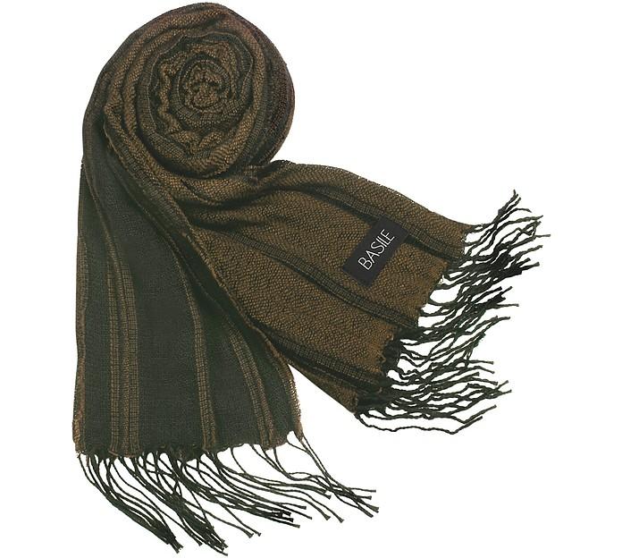 Striped Knit Fringed Long Scarf - Basile