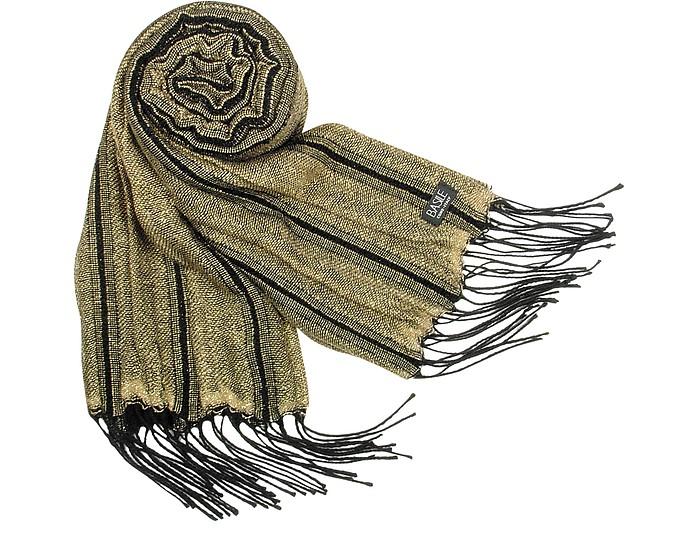 Shimmering Wool Fringed Long Scarf - Basile