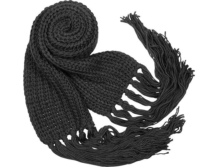 Cable Knit Fringed Long Scarf - Basile