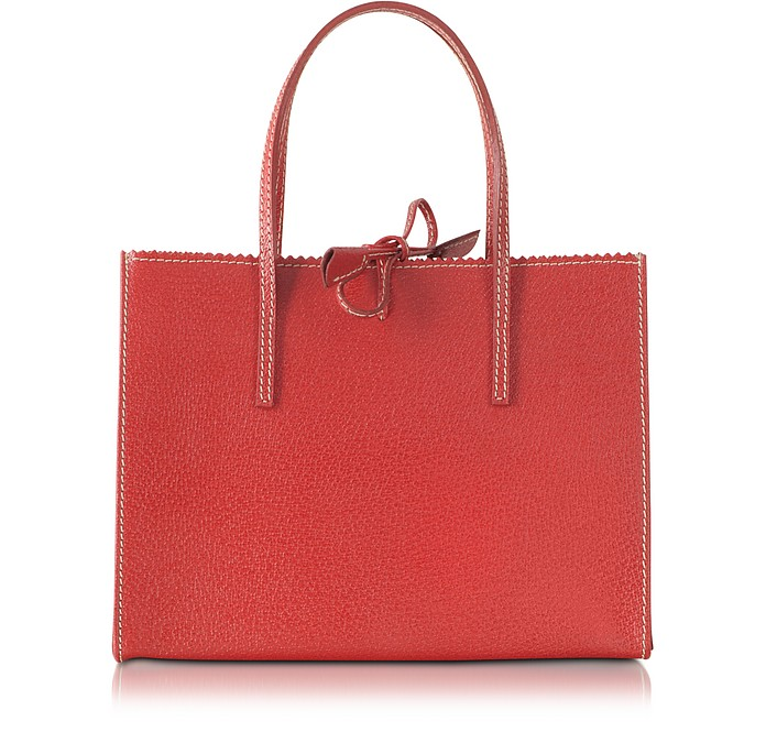 Red Small Wild Boar Leather Tote - Buti