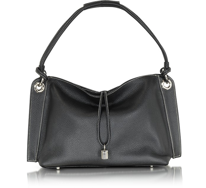 Charm Drop Black Pebble Italian Leather Hobo Bag - Buti