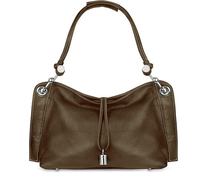 7af19b9c5146 Buti Charm Drop Dark Brown Pebble Italian Leather Hobo Bag at FORZIERI