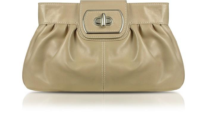 Beige Genuine Leather Twist-lock Clutch  - Buti