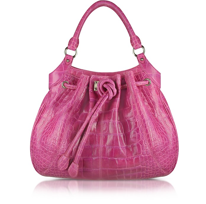 Fuchsia Croco Stamped Leather Drawstring Tote Bag - Buti
