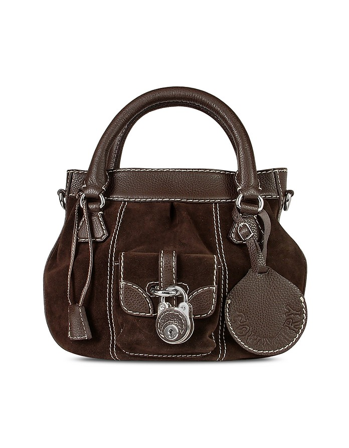 Dark Brown Suede and Leather Tote Bag - Buti