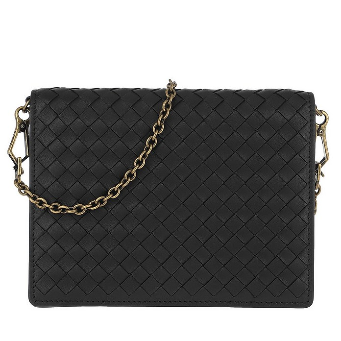 c4dffdb7c4079 Bottega Veneta Intrecciato Chain Wallet Nappa Leather Black at ...