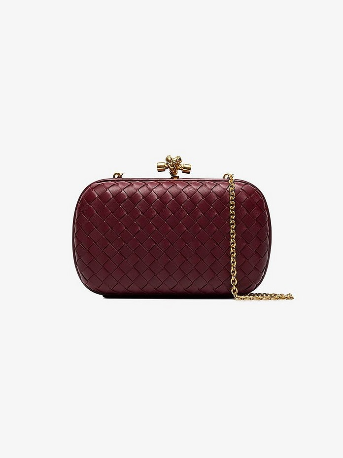 Burgundy knotted chain clutch bag - Bottega Veneta