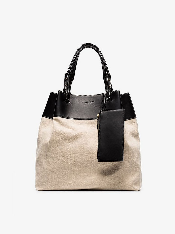 Beige canvas leather tote bag - Bottega Veneta