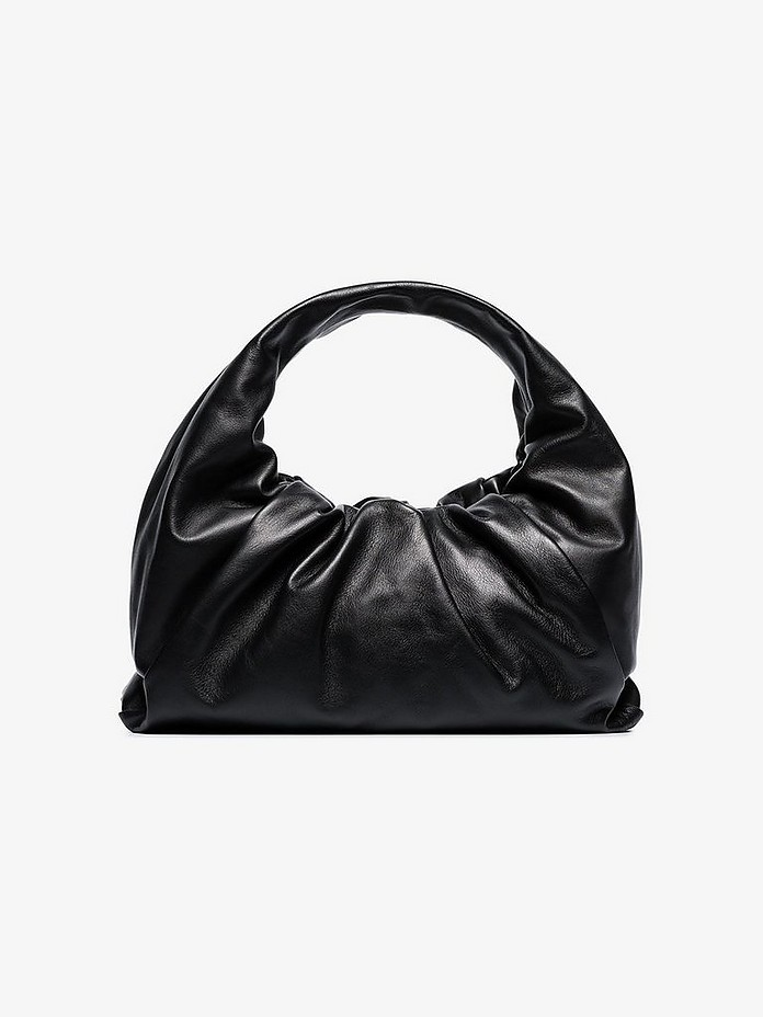 Black gathered leather shoulder bag - Bottega Veneta