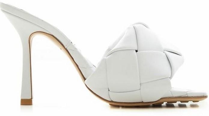 Optic White Woven Leather High Heel Slide Sandals - Bottega Veneta / ボッテガヴェネタ