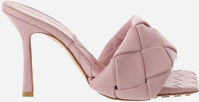 Pink Woven Leather High Heel Lido Slide Sandals - Bottega Veneta / ボッテガヴェネタ
