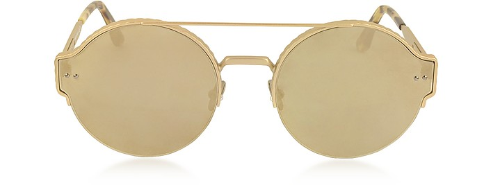 BV0013S 圆形金属框架中性太阳眼镜 - Bottega Veneta 宝缇佳