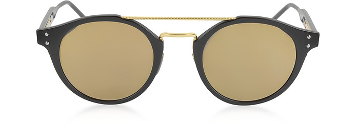 BV0078S Unisex Sonnenbrille aus Acetat und Metall in runder Form - Bottega Veneta