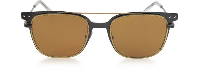 BV0095S 002 Black Metal Frame Men's Sunglasses - Bottega Veneta