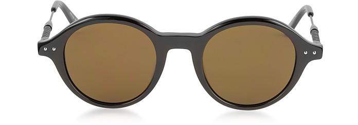 BV0095S 002 BV0107S Black Acetate Round Frame Men's Sunglasses - Bottega Veneta
