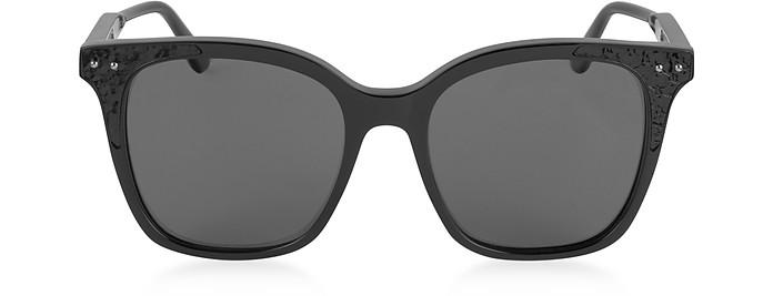 BV0118S 005 Black Acetate Frame Women's Polarized Sunglasses - Bottega Veneta