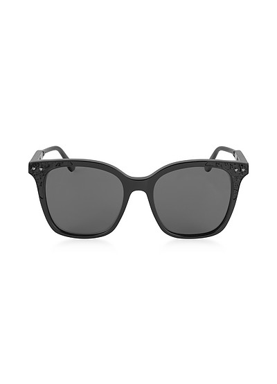 BV0118S 005 Black Acetate Frame Women's Polarized Sunglasses - Bottega Veneta