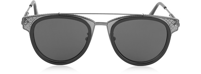 BV0123S Round Metal and Acetate Unisex Sunglasses - Bottega Veneta / ボッテガヴェネタ