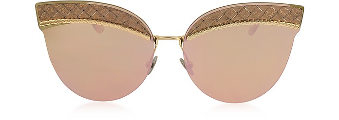 BV0101S Metal Cat-Eye Women's Sunglasses - Bottega Veneta