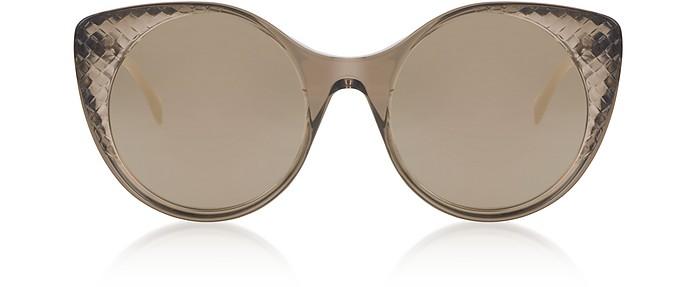 BV0148S Transparent Brown Acetate Sunglasses - Bottega Veneta