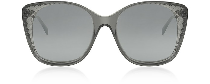 BV0149S Transparent Grey Squared Women's Sunglasses - Bottega Veneta